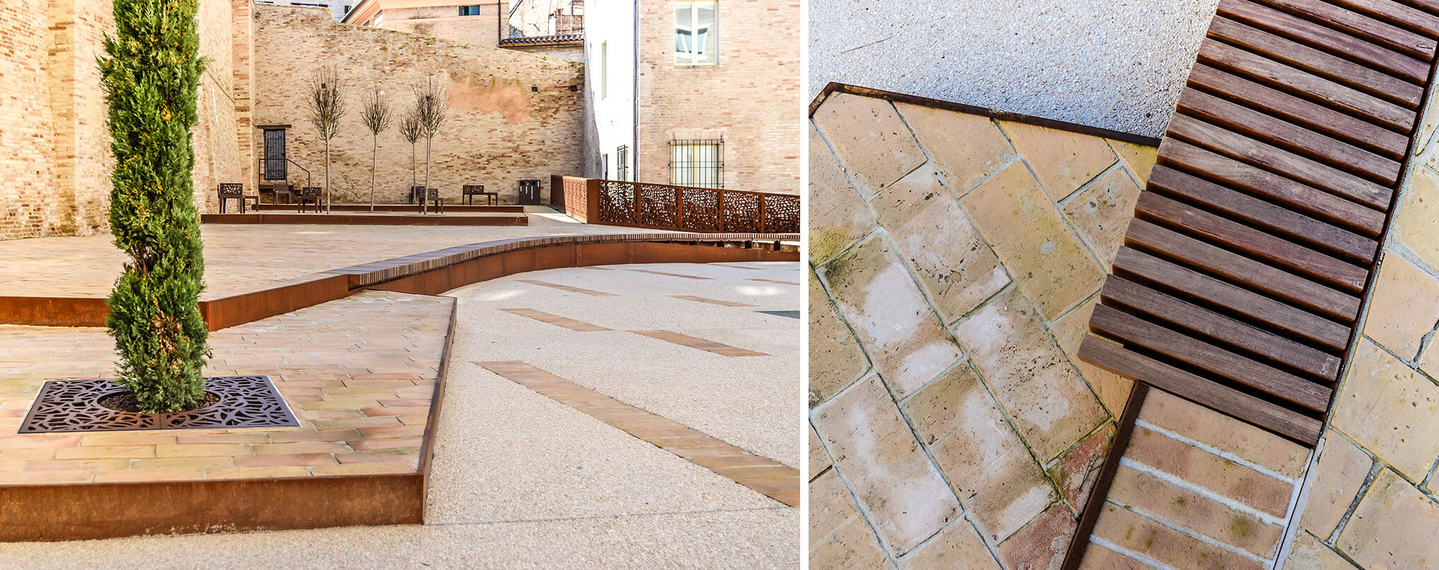 corten borders highlight the play on altimetry of the courtyard