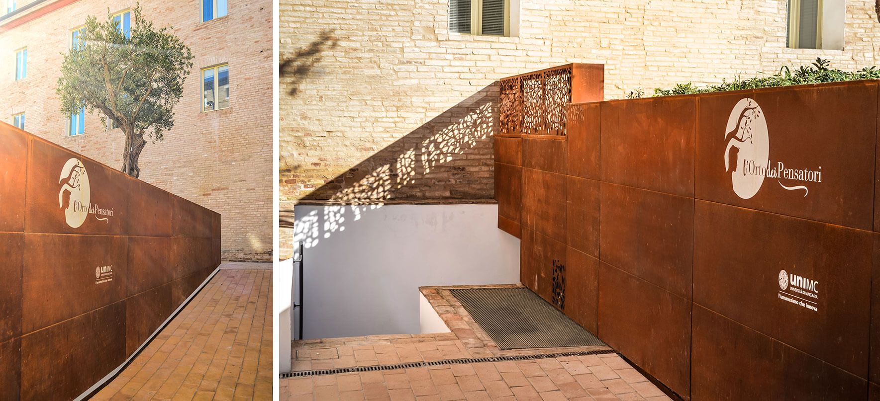 public entrance with wall cladded with corten steel sheets and corten borders