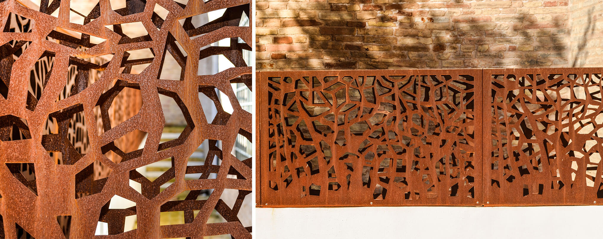 laser engraved steel railing and corten borders