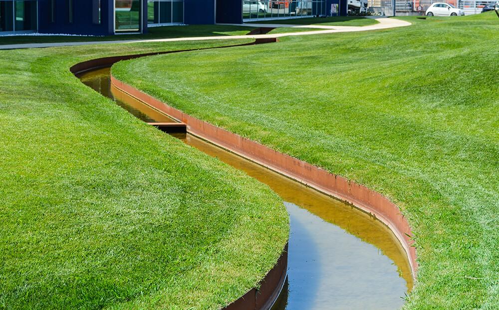 channels drain and corten garden borders