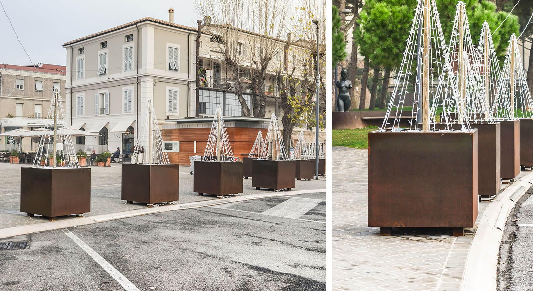 Square antiterrorist planters in Senigallia